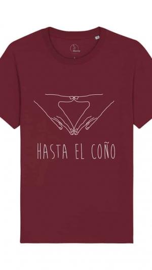 Camisetas-feministas-hasta-el-coño-unisex-granate-frente