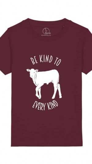 Camiseta-infantil-be-kind-to-to-every-kind-granate