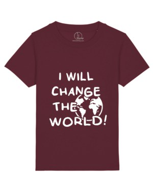 Camiseta-infantil-niño-niña-will-change-the-world-granate