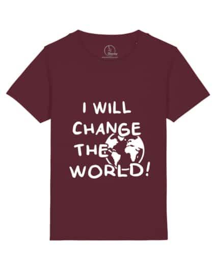 Camiseta-infantil-niño-niña-will-change-the-world-granate