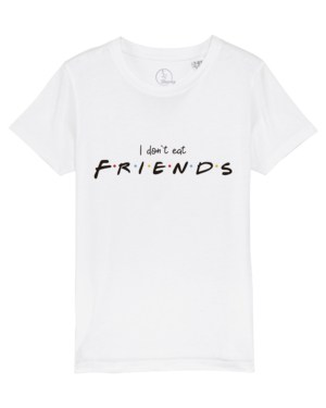 camiseta-infantil-niños-I-dont-eat-friends-blanco