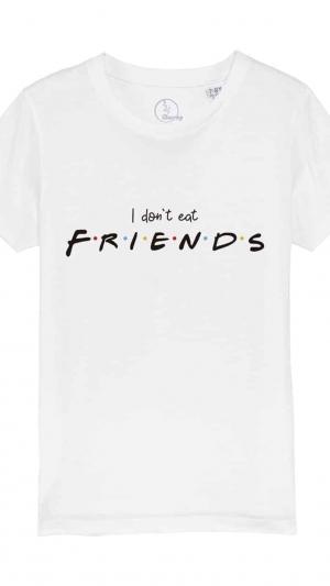 camiseta-infantil-niños-I-dont-eat-friends-blanco