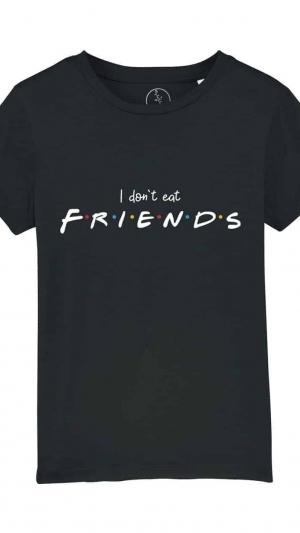 camiseta-infantil-niños-I-dont-eat-friends-negro