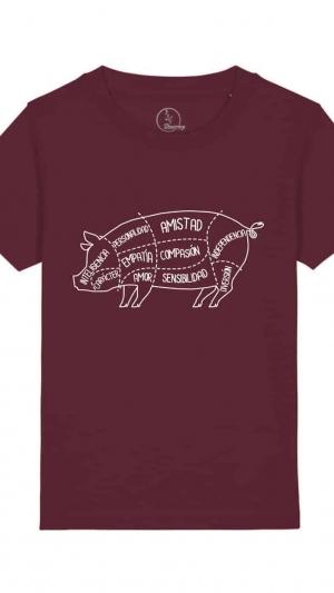 camiseta-infantil-niños-anatomía-del-cerdo-granate