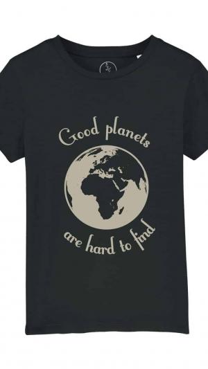 Camisetas-niños-good-planets-are-hard-to-find-negro
