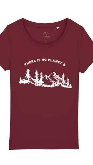 camisetas-ecologistas-there-is-no-planet-b-mujer-granate