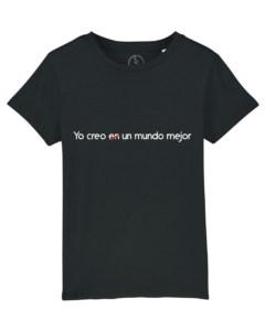 Camisetas-infantiles-niño-niña-yo-creo-en-un-mundo-mejor-negro
