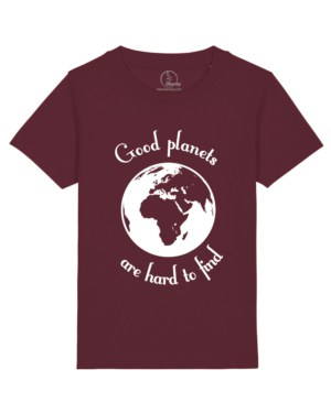 Camisetas-niños-good-planets-are-hard-to-find-granate