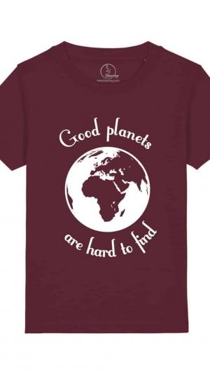 Camisetas-niños-good-planets-are-hard-to-find-granate