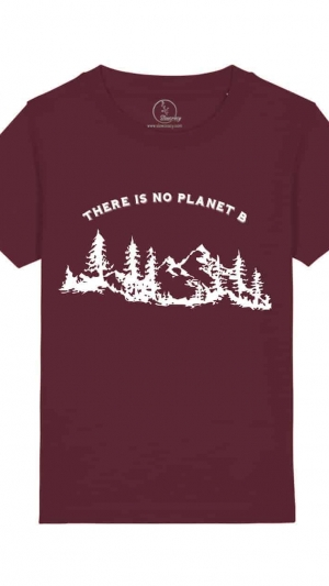 Camisetas-niños-there-is-no-planet-b-granate