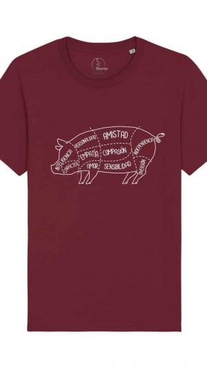 camisetas-veganas-cerdo-unisex-granate