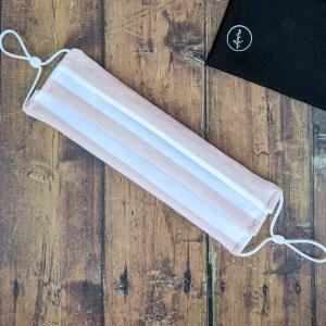 Mascarilla reutilizable algodon organico rayas rosa y blancas