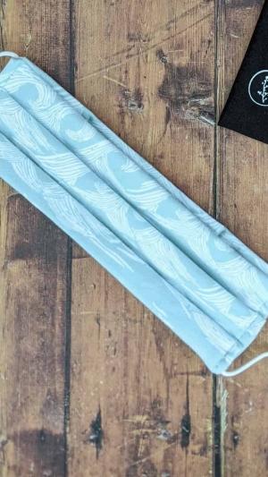 Mascarillas reutilizables algodon organico azul olas