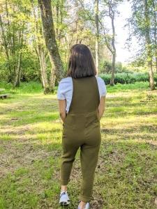 Peto sostenible muselina algodon organico detras