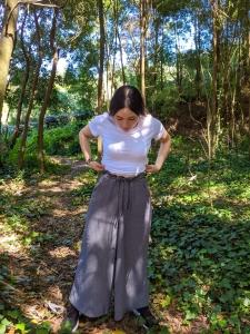 Pantalon culotte algodon organico gris muselina
