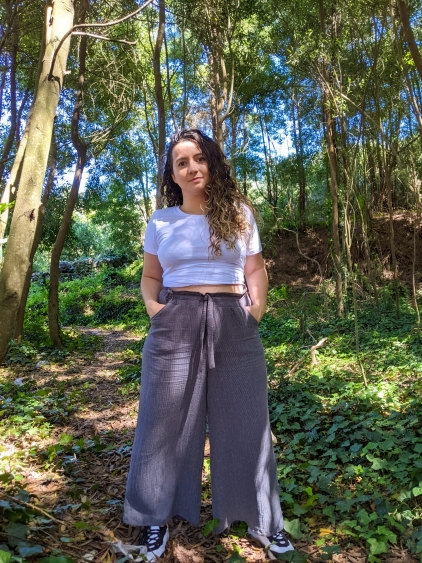 Pantalon culotte gris rayas muselina Tamara
