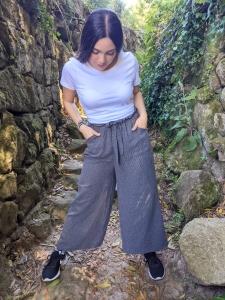 Pantalon culotte gris rayas muselina Vicky