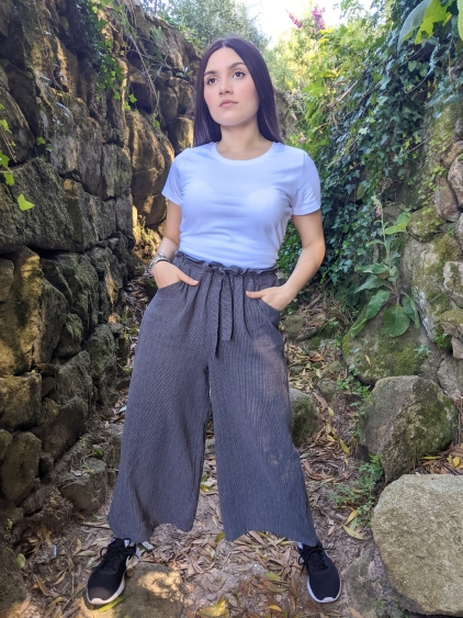 Pantalon culotte gris rayas muselina Victoria